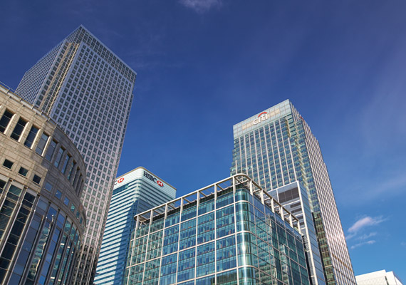 The towers at Canary Wharf.