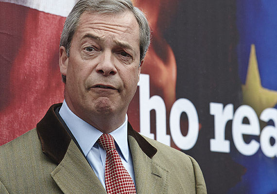 Nigel Farage launches the UKIP poster campaign in 2014.