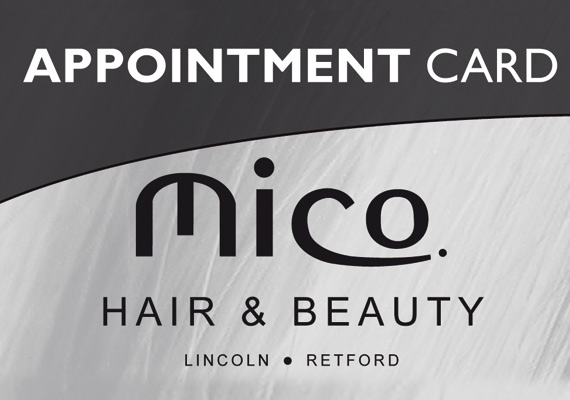 A suite of products for Mico hairdressing, price lists, posters, loyalty cards, bags etc...