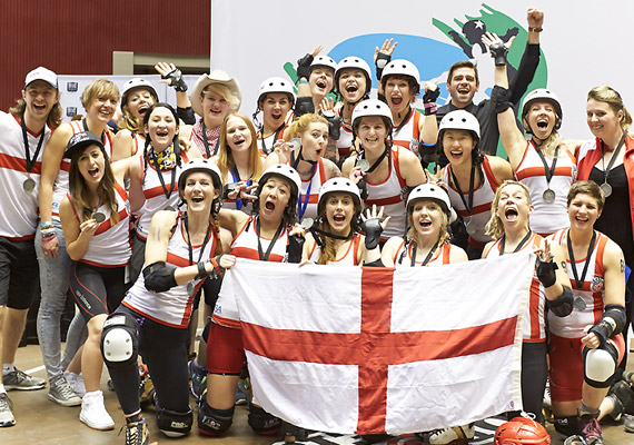 Team England take silver at the second Roller Derby World Cup.